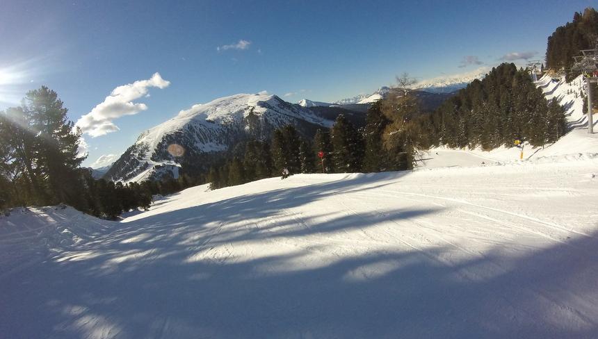 De pistes van Obereggen, in de Dolomieten, heb zo'n mooi uitzicht!