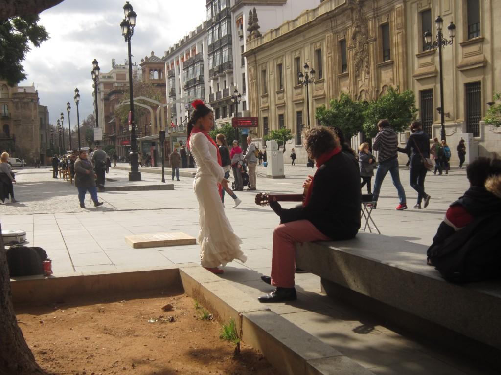 Spontaan flamenco optreden bij de Kathedraal van Sevilla