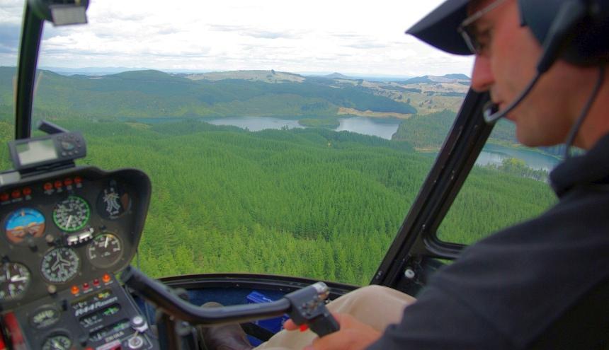 Nieuw-Zeeland per heli. Dat is nog echt vliegen: trillen, lawaai, het uitzicht.