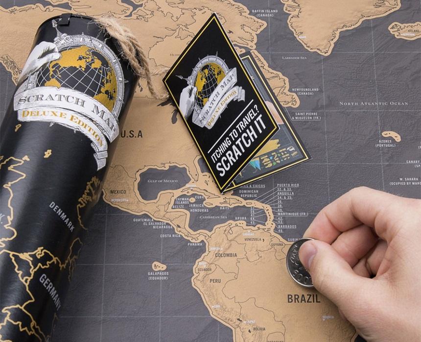 Een scratch map deluxe: nog zo'n ideale wereldkaart voor iedere wereldreiziger, want foto's zijn leuk om te laten zien, en vlaggetjes op een kaart zijn prima, maar een Scratch Map is uniek!