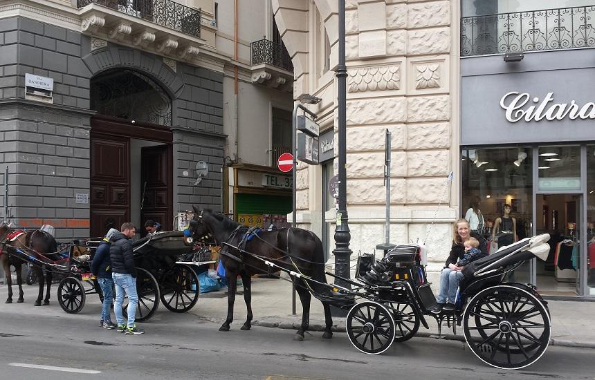 Een ritje met de paardenkoets in Palermo, Sicilië