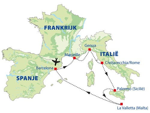 routekaart cruise middellandse zee