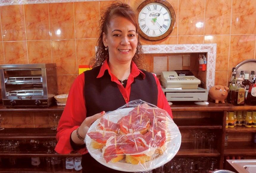 Iberische ham als lunch.