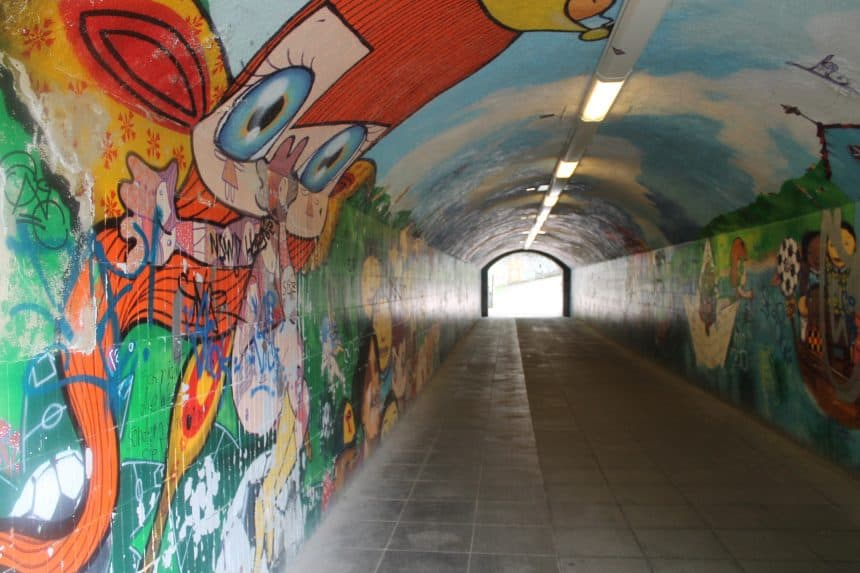 Graffiti in een tunnel in München