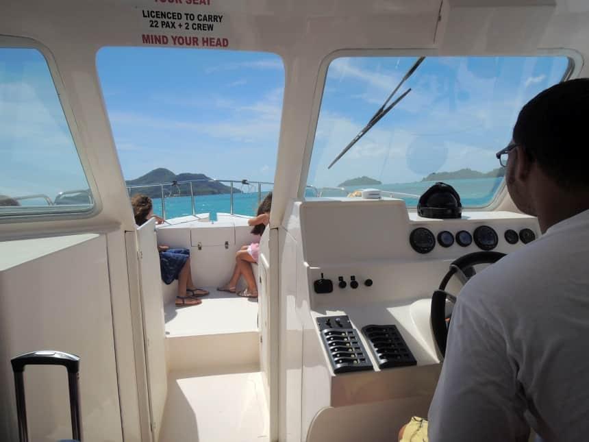 Met de jetty (speedboot) van Mahe naar Sainte Anne.