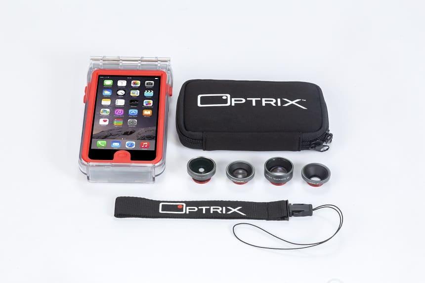 Optrix case met 4 verwisselbare lenzen