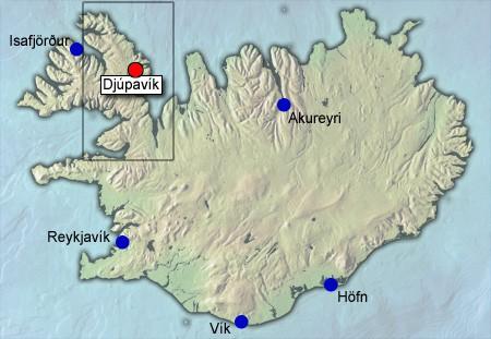 Kaart van Djupavik in IJsland