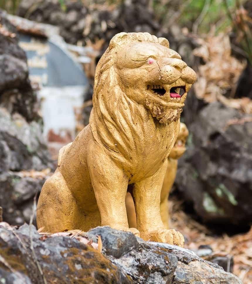 Een gouden leeuw kijkt over de mekong
