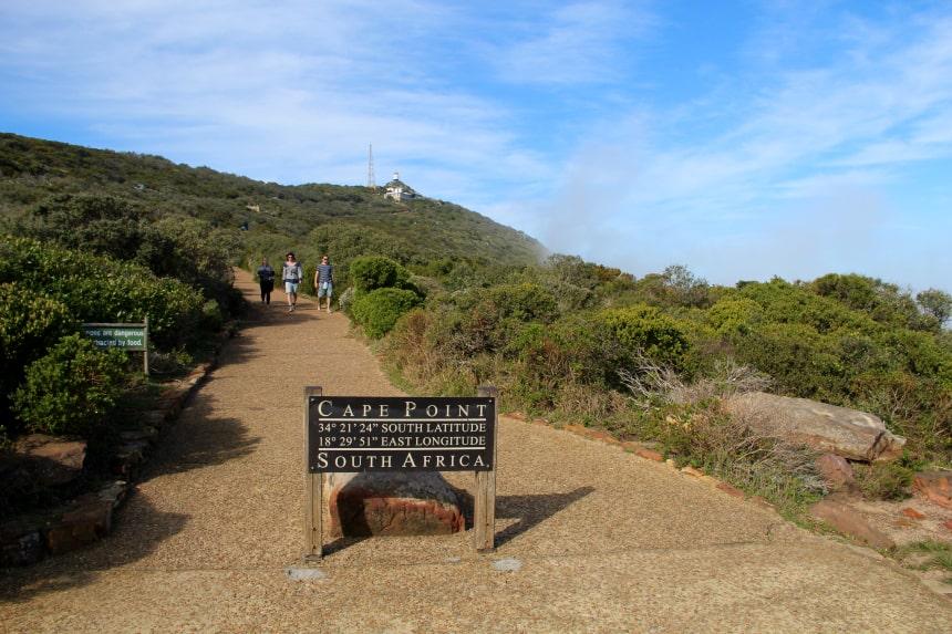 Cape Point op het Kaaps Schiereiland. In de verte zie je de bekende vuurtoren!