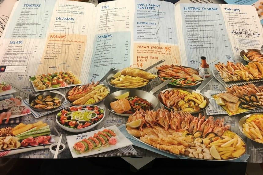 Aanrader: restaurant Ocean's Basket in Kaapstad. Ook de luchthaven heeft een vestiging