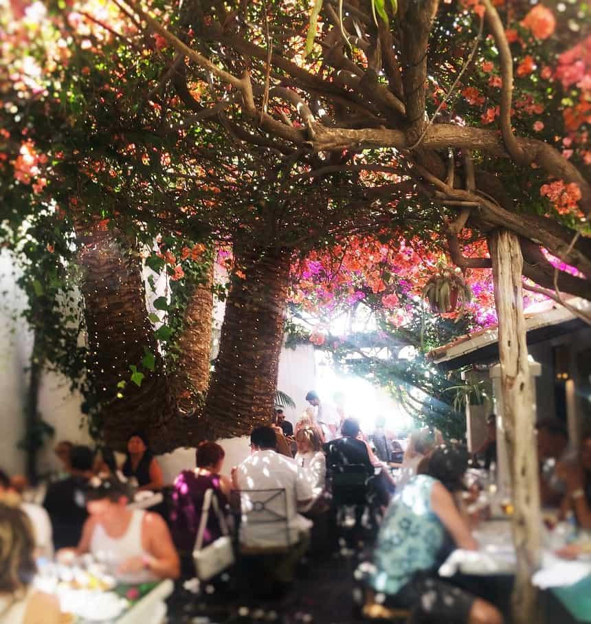 Heerlijk lunchen onder de gekleurde bloemetjes bij La Brasa.