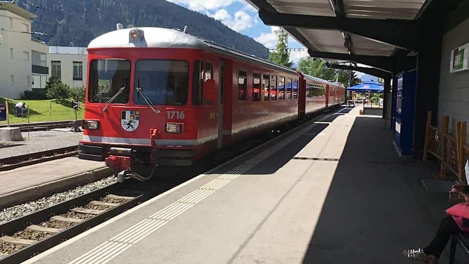 Aangekomen met de trein in Davos