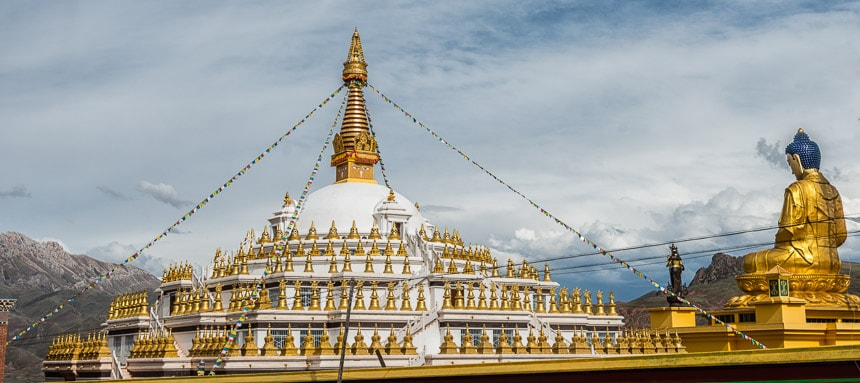 Ashoka Stupa in Shorda, distrikt Nangchen.