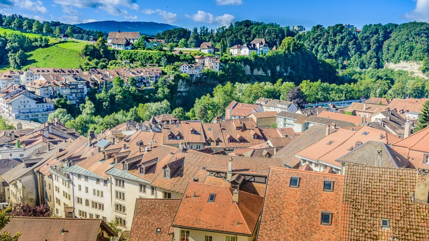 Gezicht over de benedenstad van Fribourg