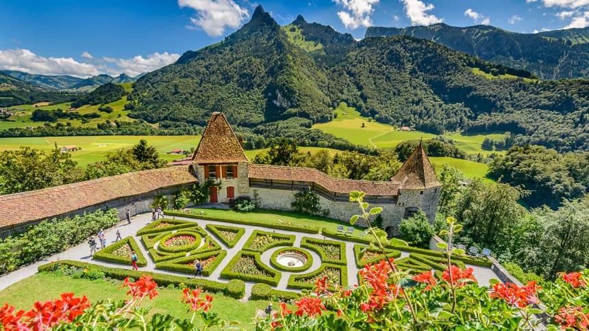 Gruyeres-de Franse tuin van het Chateau