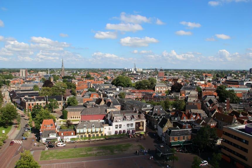 Het uitzicht vanaf de Oldehove in Leeuwarden