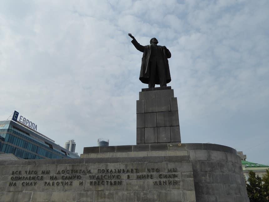 Lenin is nooit ver weg in de Russische steden.