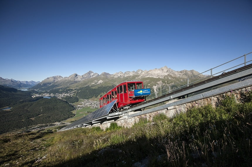 Kabelspoortrein St. Moritz. Copyright Graubünden Ferien, Andrea Badrutt