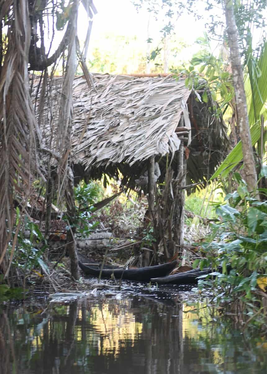 Het huis van de Warao-indianen; een op palen gezette hut met rieten dak en zonder muren. Geen bedden, maar hangmatten om in te slapen.