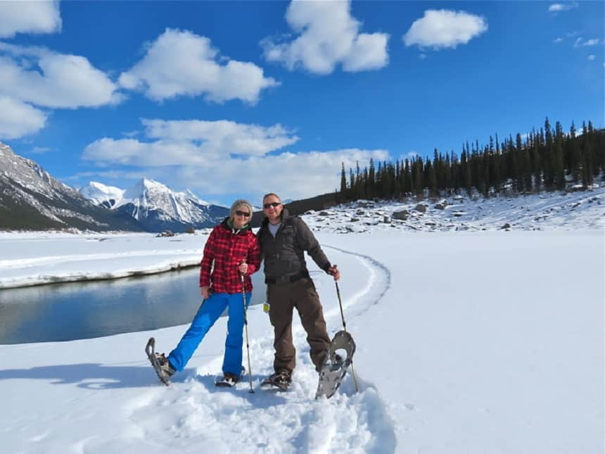sneeuwwandelen in Jasper National Park