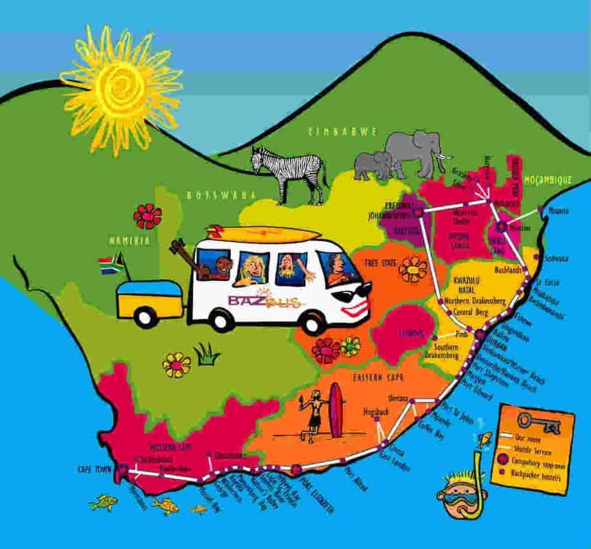 De BazBus brengt je naar alle highlights in Zuid-Afrika