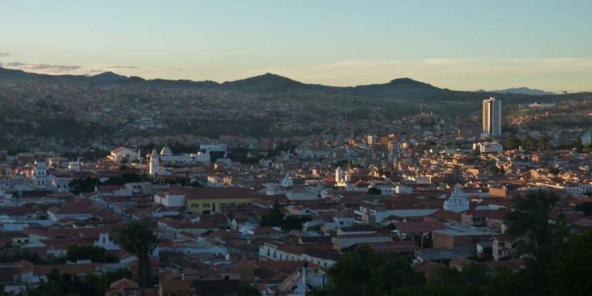 Het uitzicht op Sucre vanaf La Recoleta is prachtig net voor zonsondergang