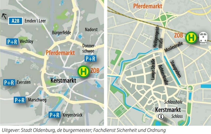 Park & Ride Kerstmarkt Oldenburg Duitsland