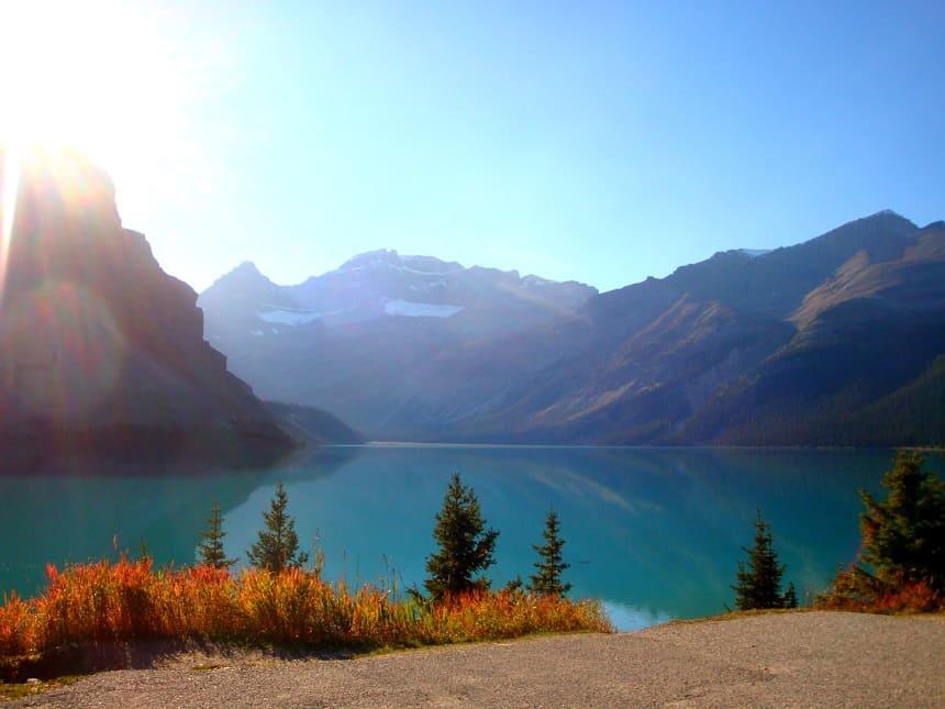 Uitzicht onderweg huurauto Canada