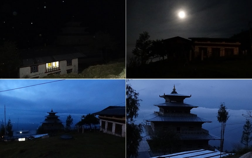 "Zonsopkomst Chador Lhakhang, hier is de kiem gelegd voor ""A Drop in the Ocean"""
