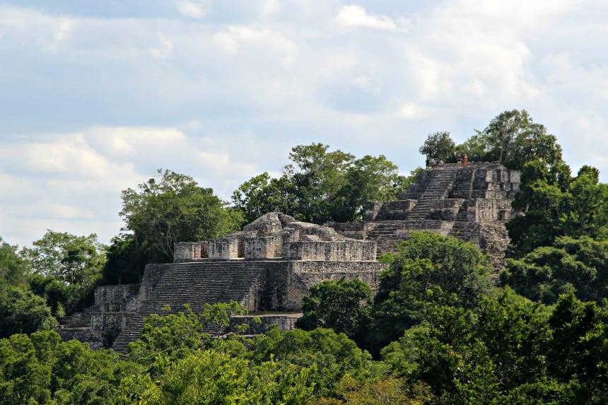 De Mayaruïnes van Calakmul in Mexico