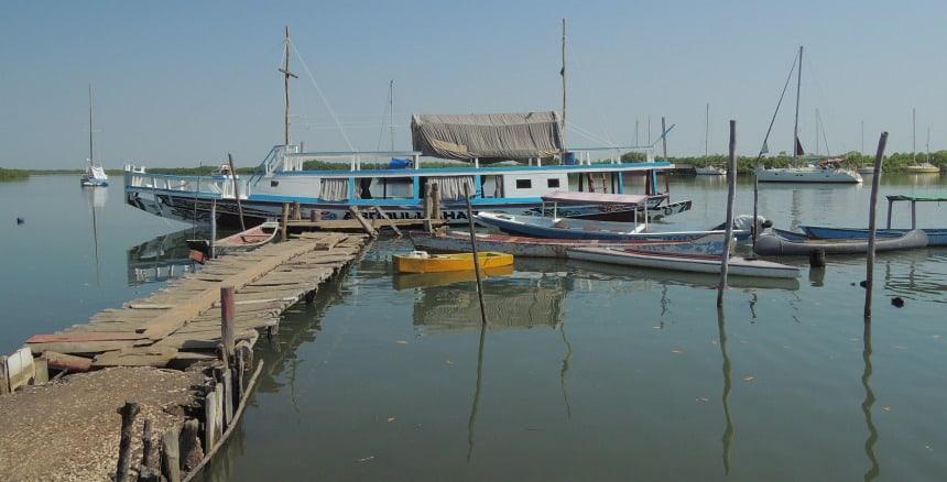 Een tochtje over een zijarm van de Gambia-rivier.