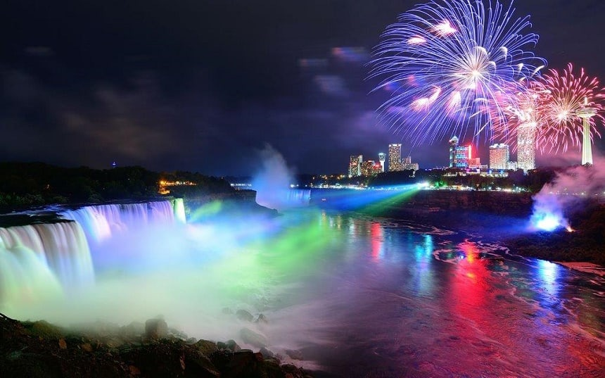 Winter Festival of Lights bij de Niagara watervallen