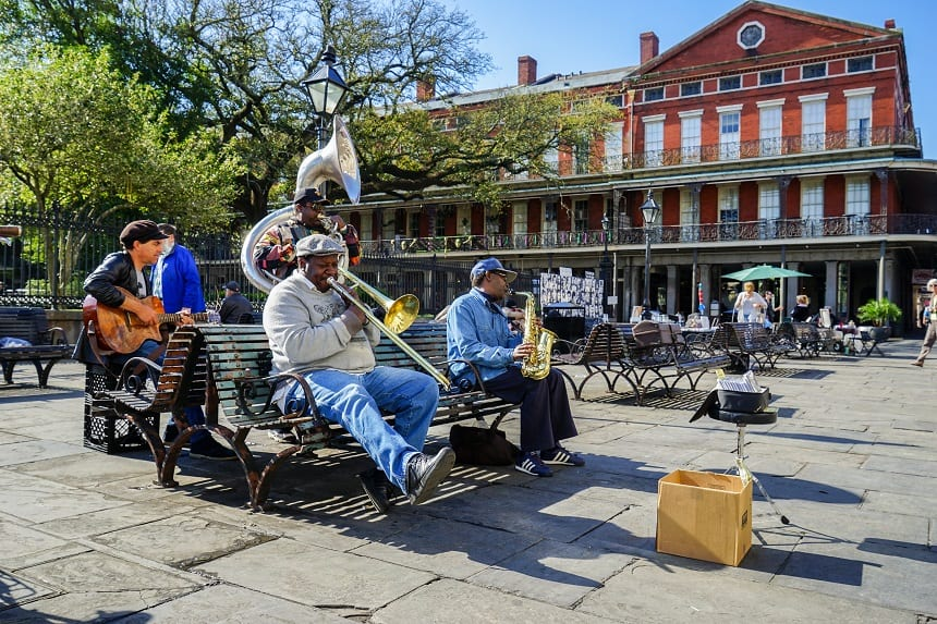 Street Musicians op Jackson Square, French Quarter Fotocredits Paul Broussard