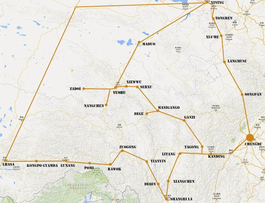 Een aantal routes die door de Tibetaanse delen van China voeren.
