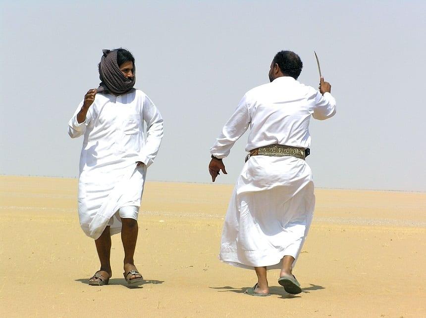 Traditionele kromzwaard-dans Jemen