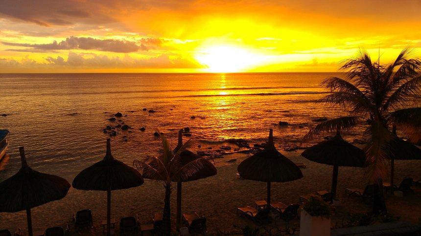Het strand van Mauritius