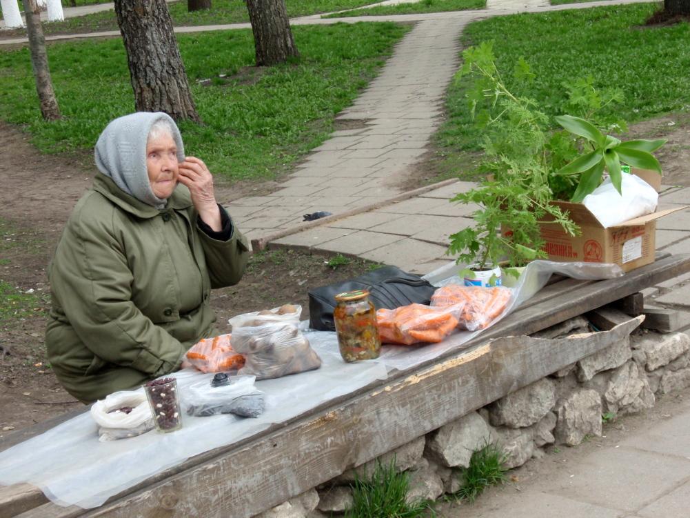 Straatverkopers Rusland