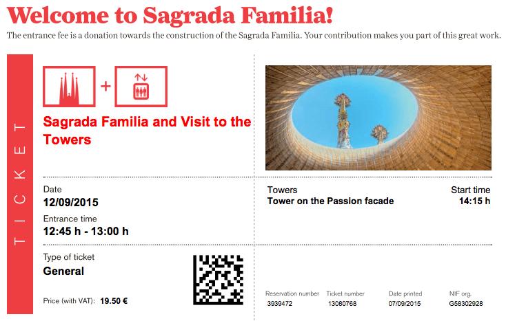 Toegangsticket Sagrada Familia