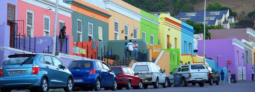 De kleurrijke Hollandse huizen in Kaapstad.
