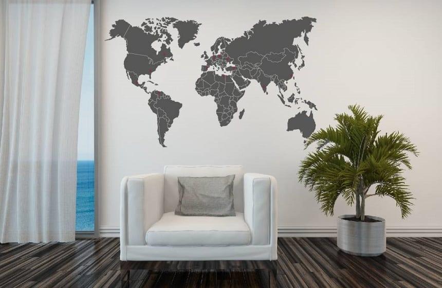 muursticker wereldkaart met landsgrenzen