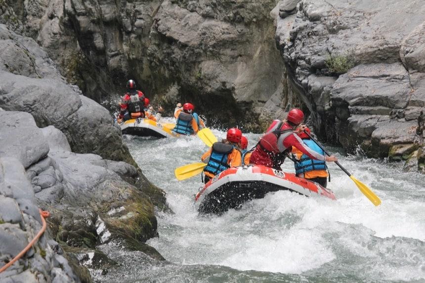 Raften op de Corno rivier