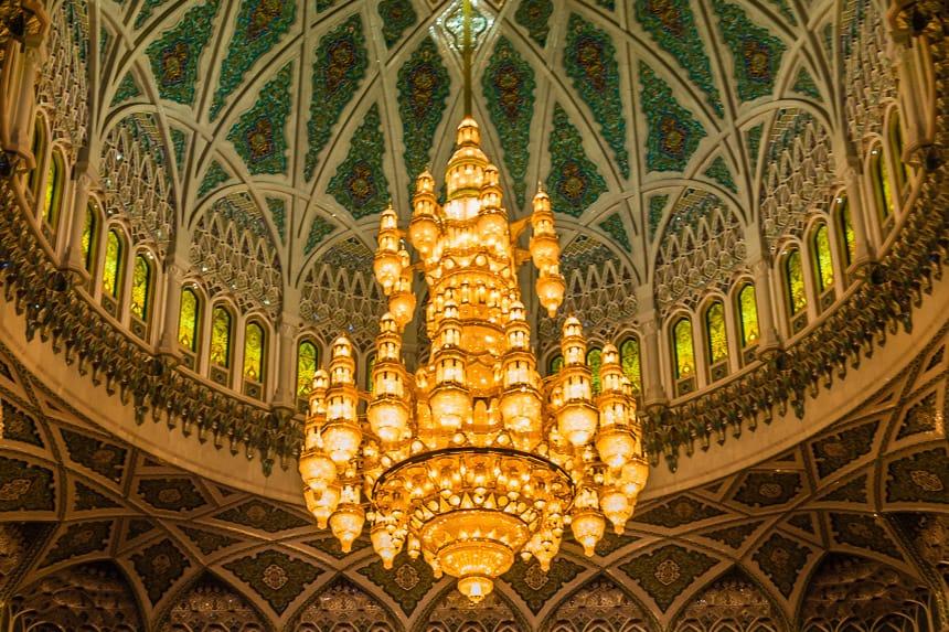 kroonluchter in de grote Moskee van Muscat