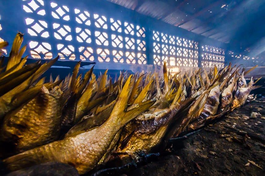 Tanji fish village. De Intense rookgeur kun je zowaar proeven
