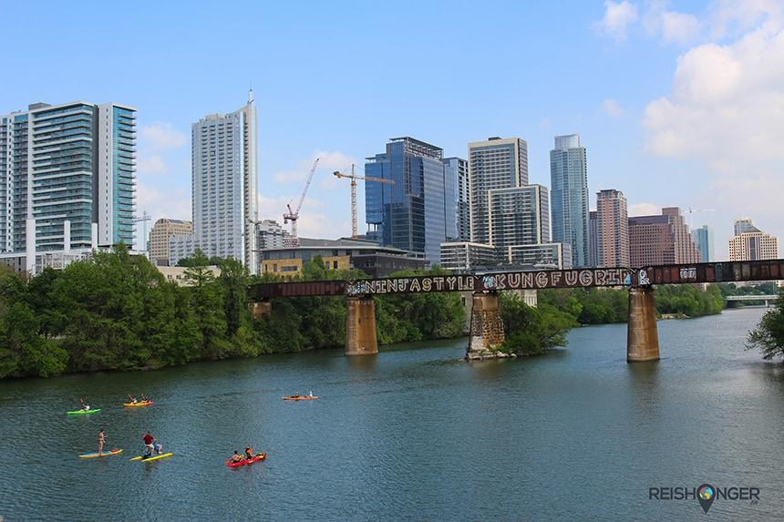 Uitzicht op Downtown Austin vanaf Ladybird Lake