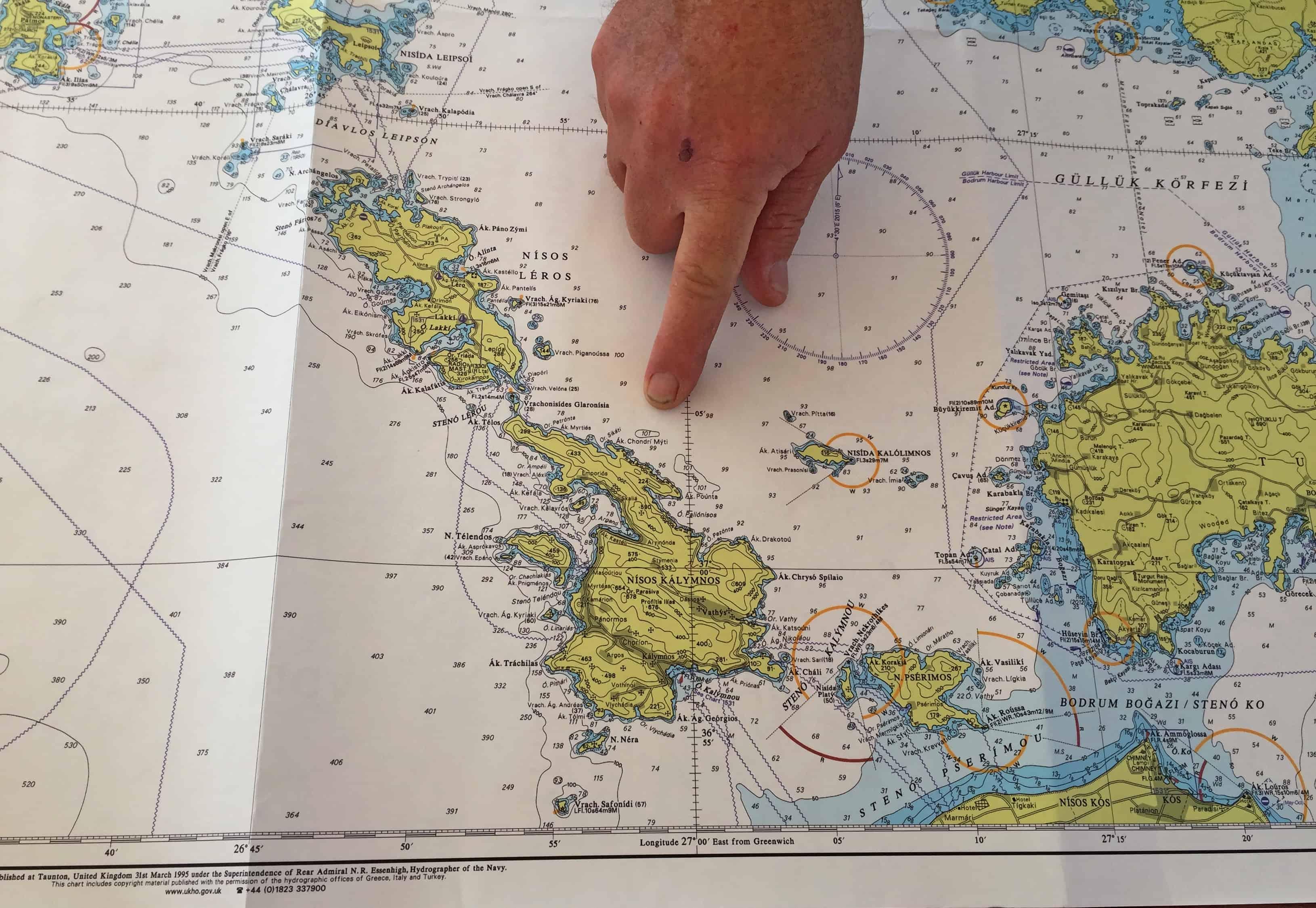 De zeekaart van de Egeïsche Zee