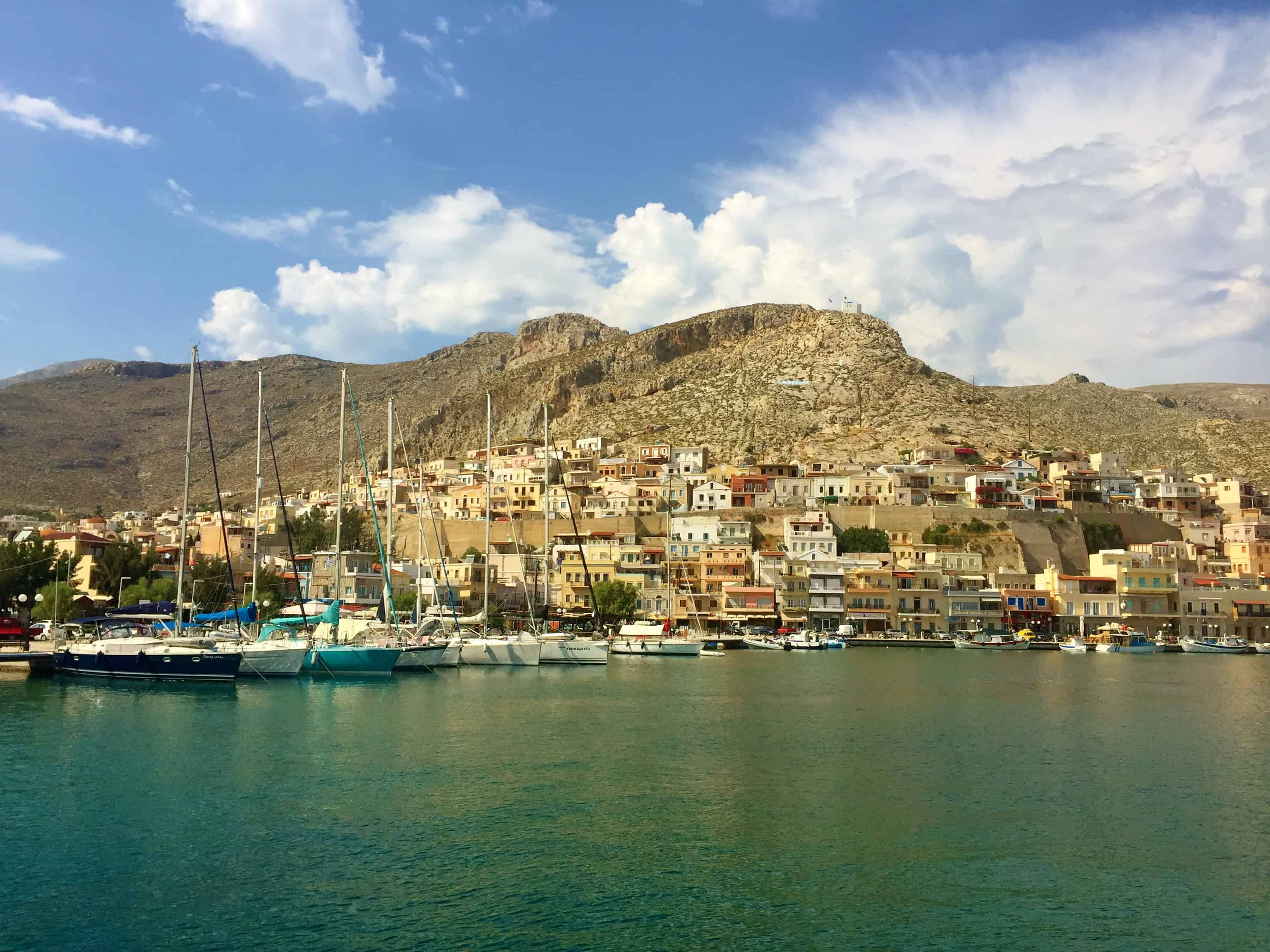 De haven van Kalymnos, Griekenland