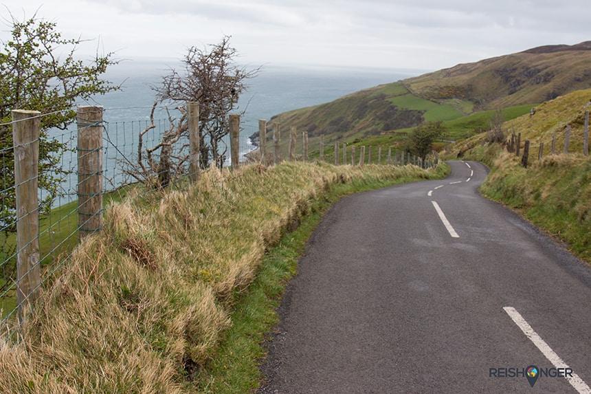 De route langs Torr Head is prachtig