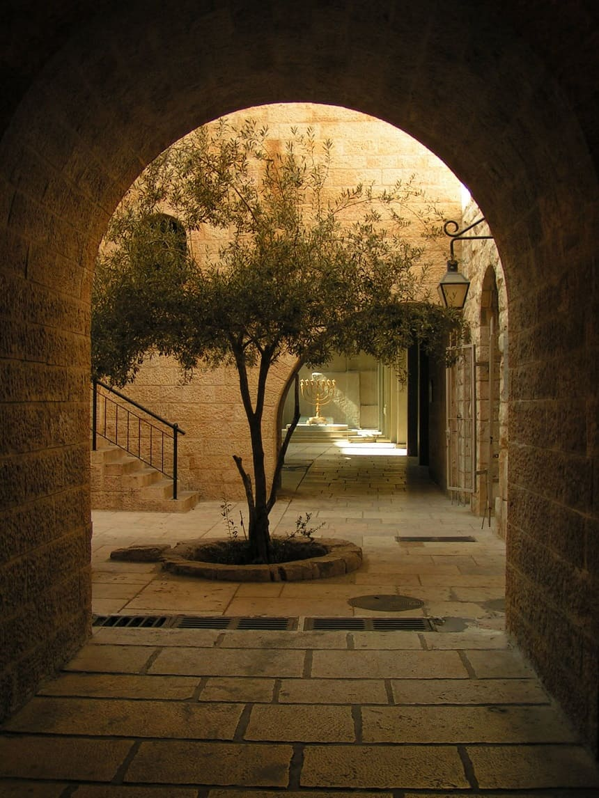 Een binnenplaats in de oude stad van Jeruzalem