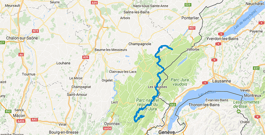 De Grandes Traverseés des Jura lopen langs de grens met Zwitserland.