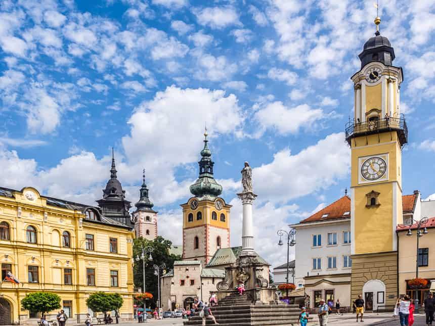 Het Centrale Plein van Banska-Bystrica